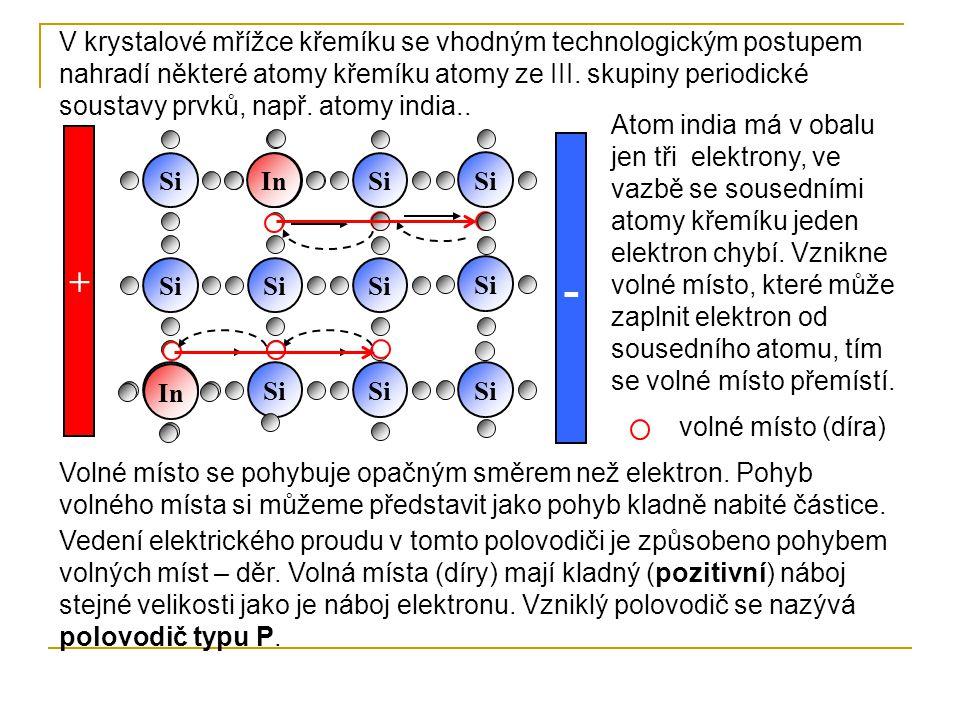 V krystalové mřížce křemíku se vhodným technologickým postupem nahradí některé atomy křemíku atomy ze III. skupiny periodické soustavy prvků, např. atomy india..