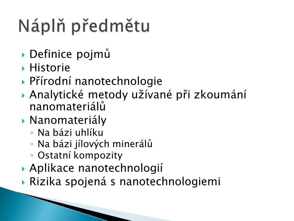 Náplň předmětu Definice pojmů Historie Přírodní nanotechnologie