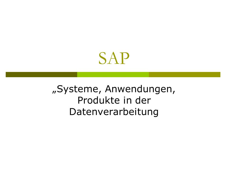 """""""Systeme, Anwendungen, Produkte in der Datenverarbeitung"""
