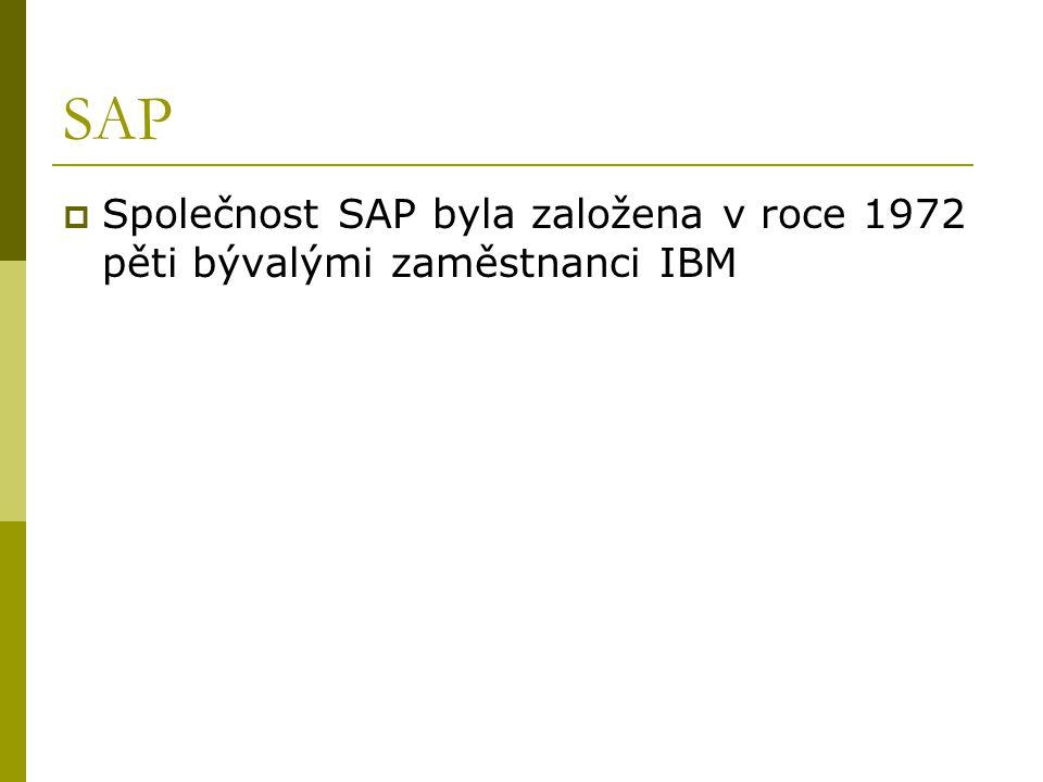 SAP Společnost SAP byla založena v roce 1972 pěti bývalými zaměstnanci IBM