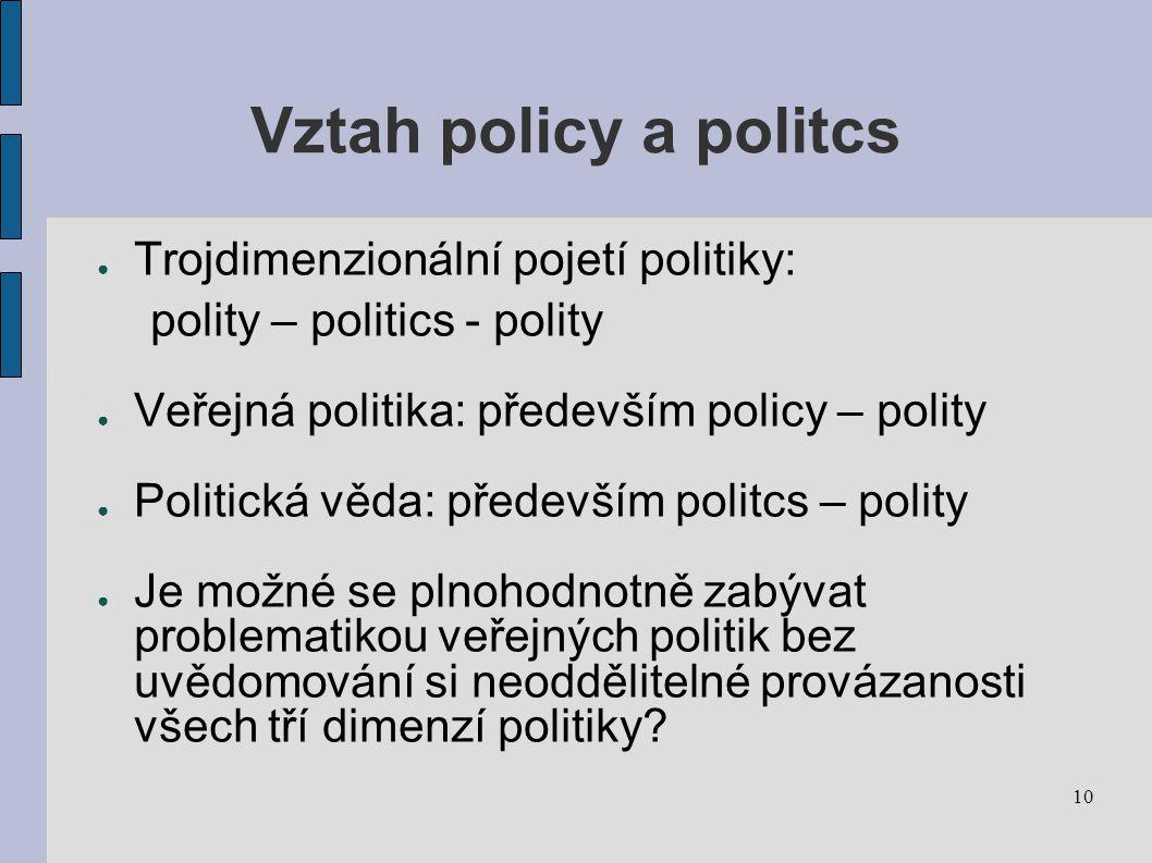 Vztah policy a politcs Trojdimenzionální pojetí politiky: