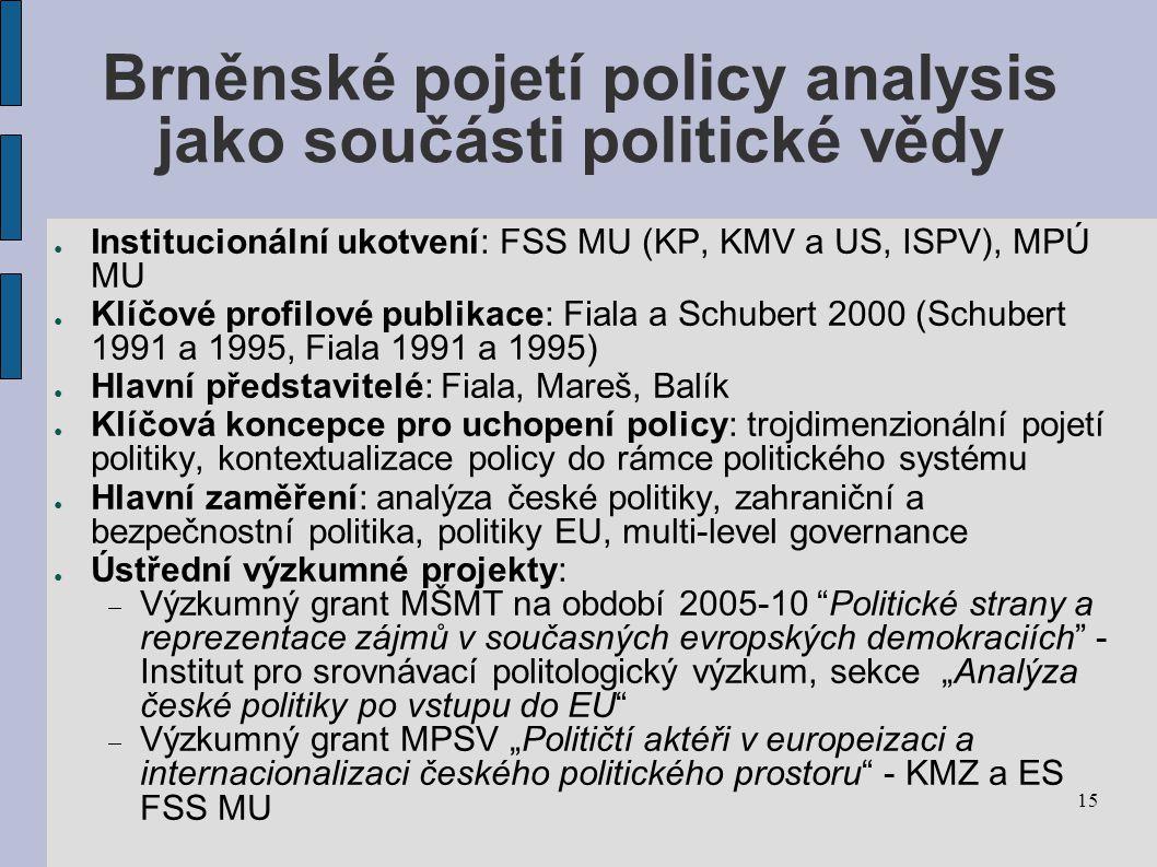 Brněnské pojetí policy analysis jako součásti politické vědy