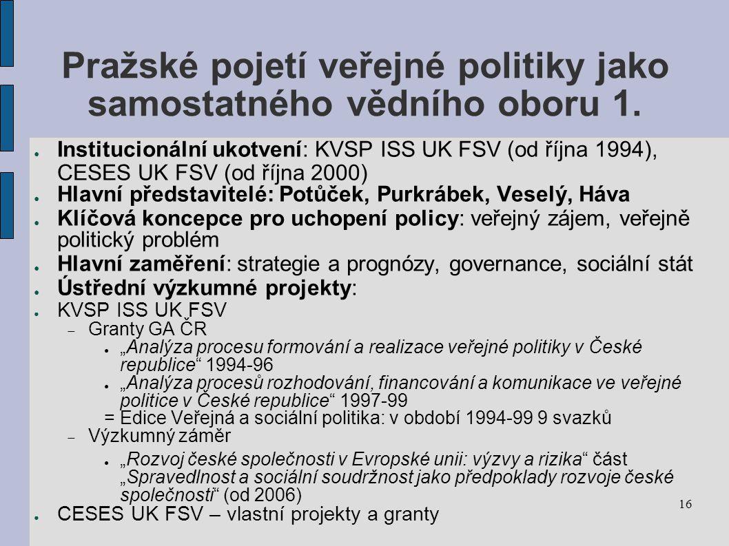 Pražské pojetí veřejné politiky jako samostatného vědního oboru 1.