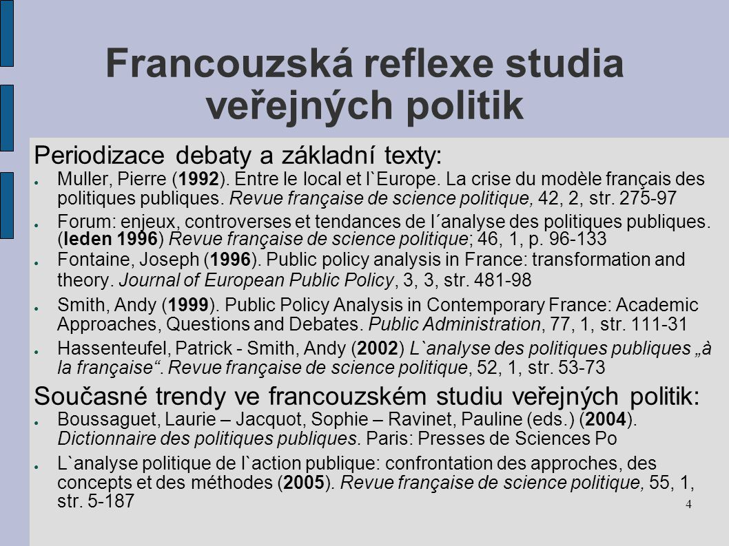 Francouzská reflexe studia veřejných politik