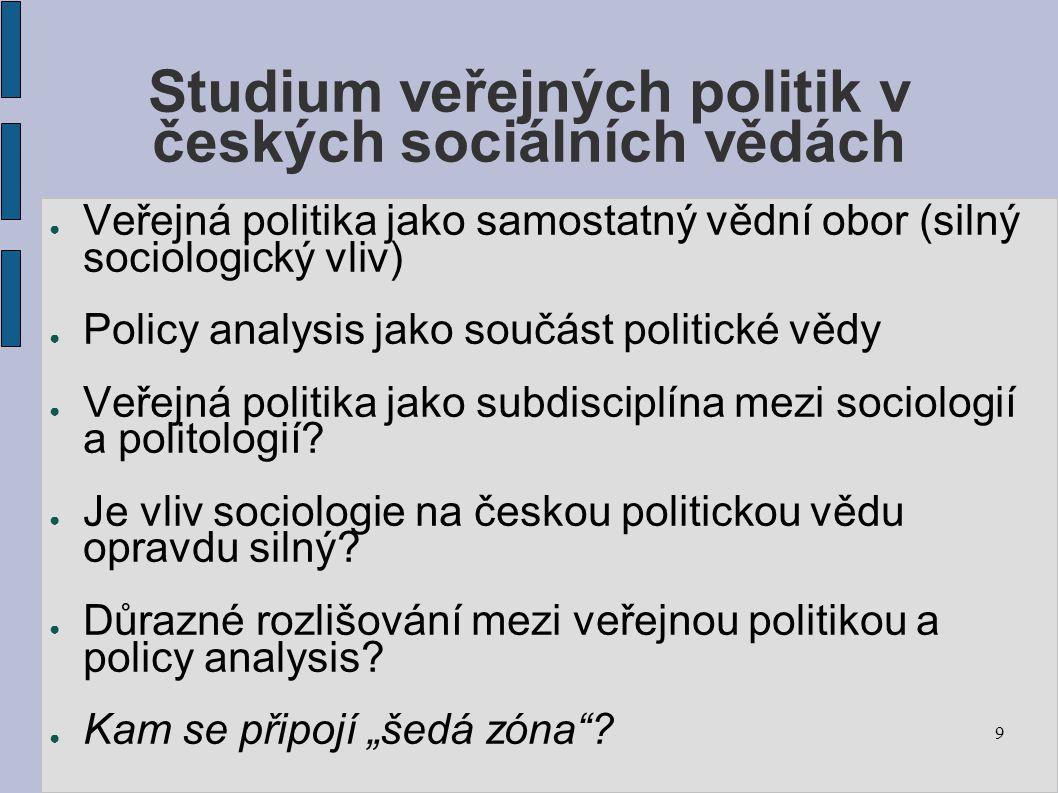 Studium veřejných politik v českých sociálních vědách