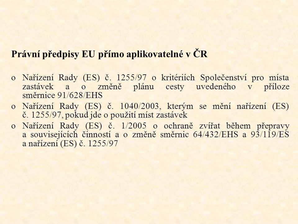 Právní předpisy EU přímo aplikovatelné v ČR