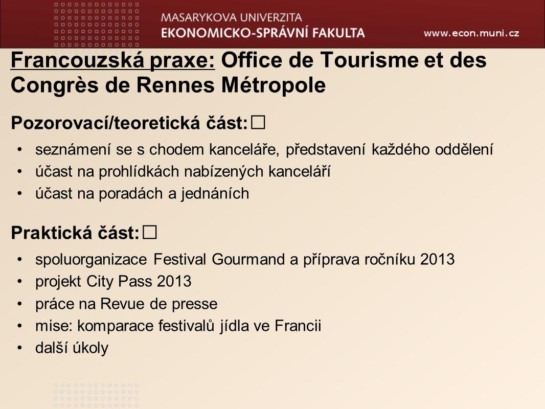 Francouzská praxe: Office de Tourisme et des Congrès de Rennes Métropole