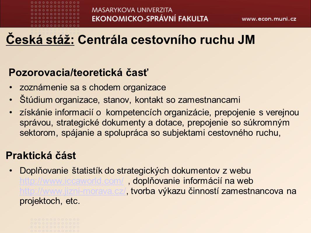 Česká stáž: Centrála cestovního ruchu JM