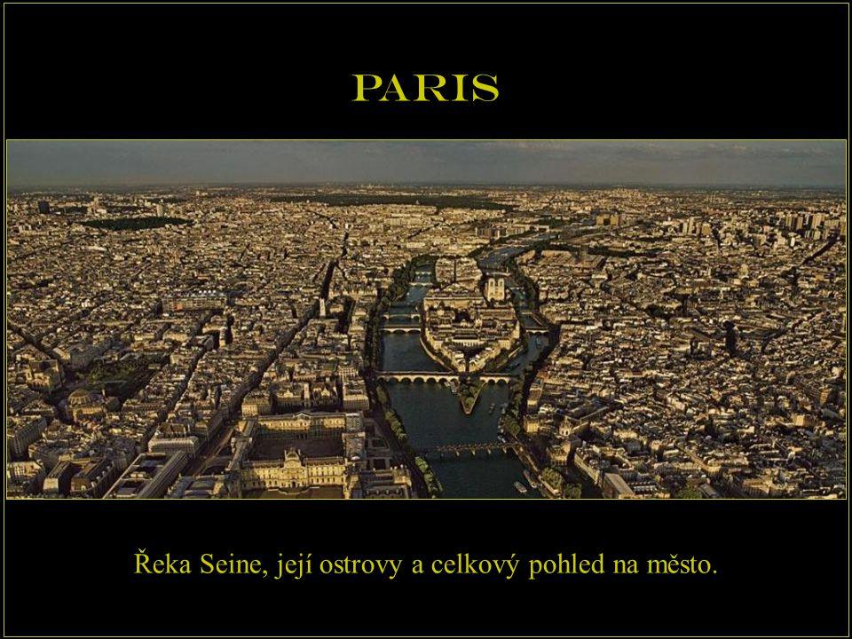 Řeka Seine, její ostrovy a celkový pohled na město.
