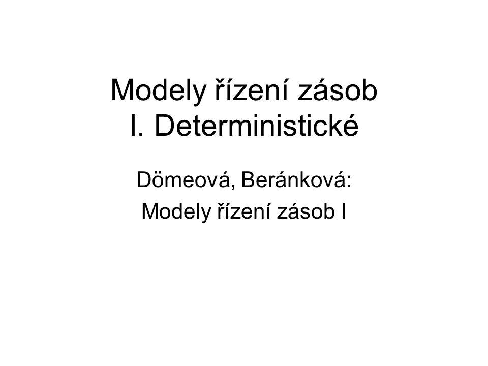 Modely řízení zásob I. Deterministické