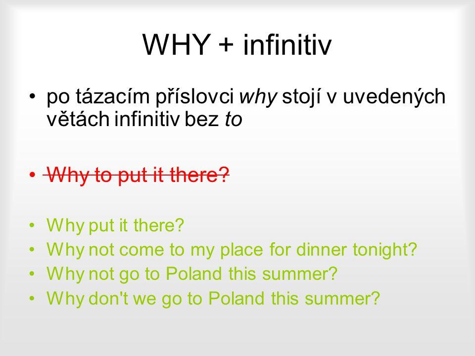 WHY + infinitiv po tázacím příslovci why stojí v uvedených větách infinitiv bez to. Why to put it there