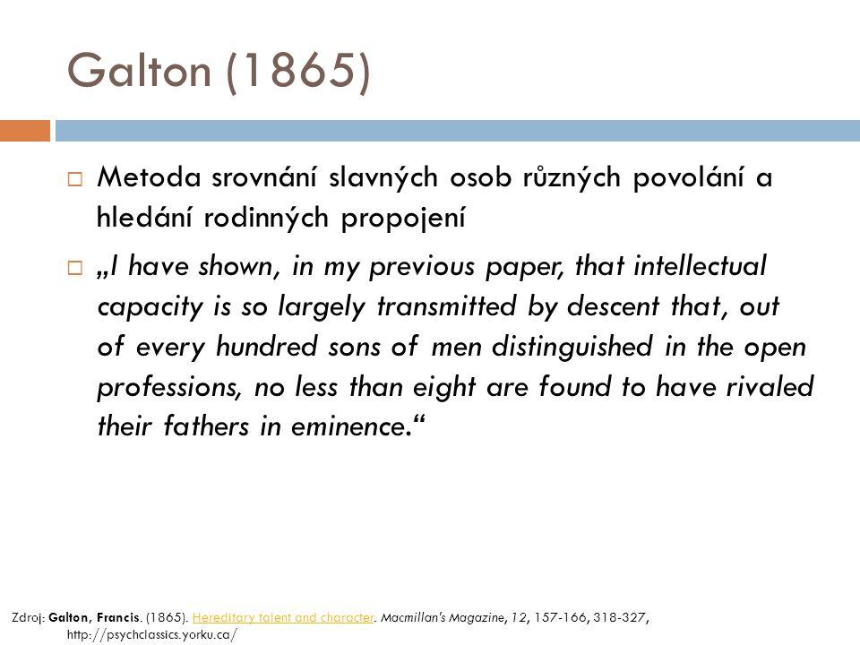 Galton (1865) Metoda srovnání slavných osob různých povolání a hledání rodinných propojení.