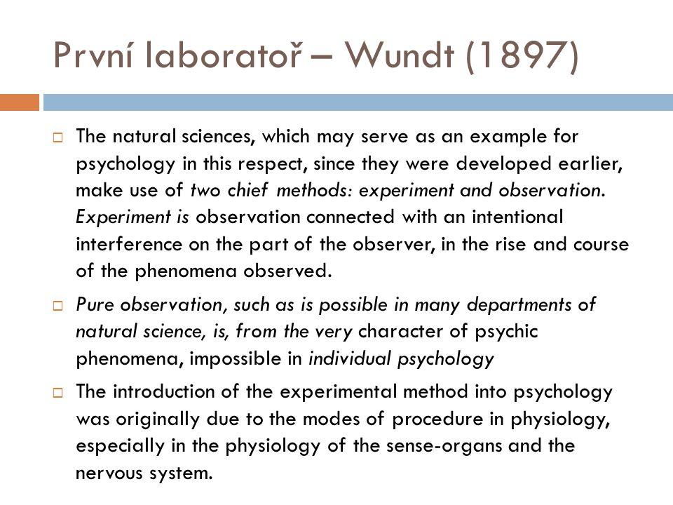 První laboratoř – Wundt (1897)