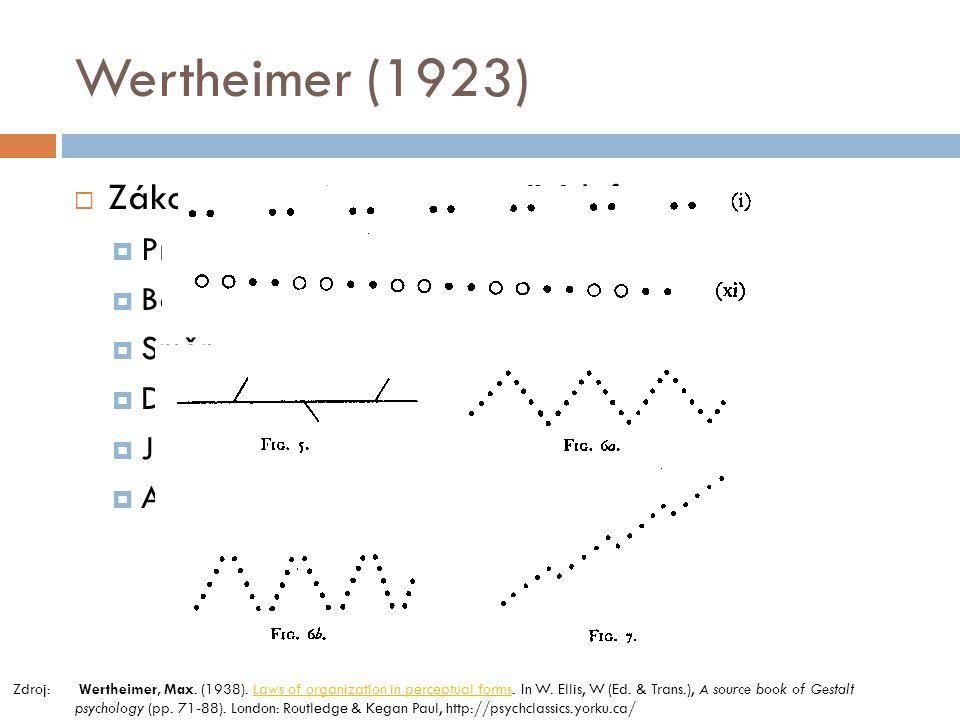 Wertheimer (1923) Zákony organizace percepčních forem Proximita Barva