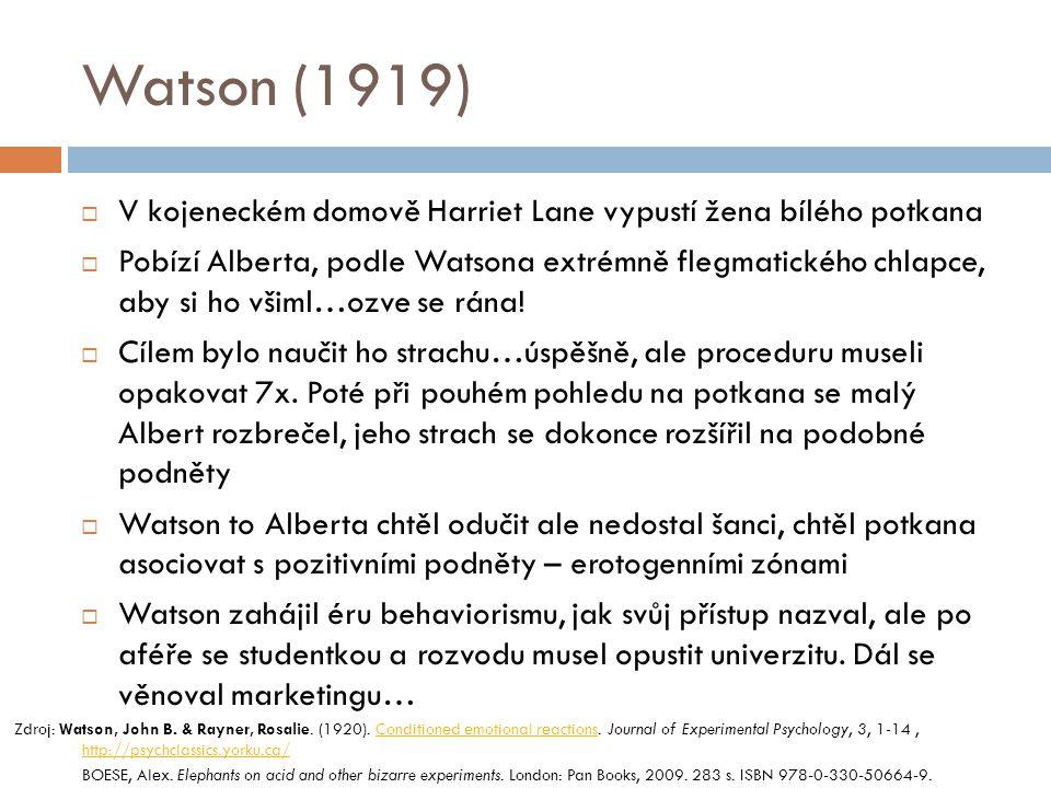 Watson (1919) V kojeneckém domově Harriet Lane vypustí žena bílého potkana.