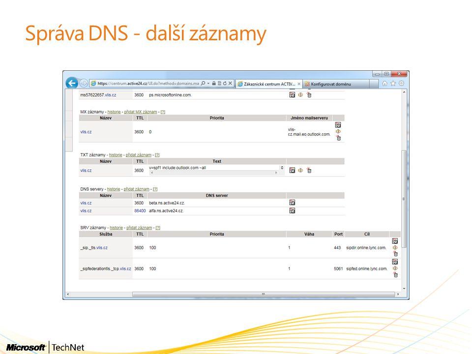 Správa DNS - další záznamy