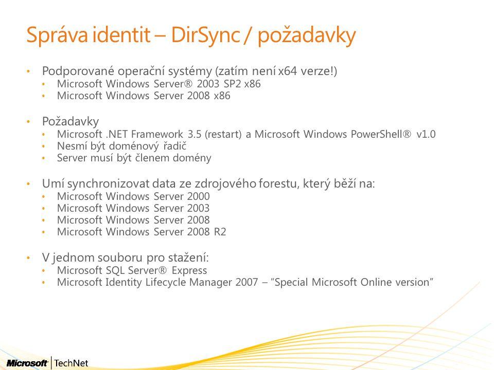 Správa identit – DirSync / požadavky