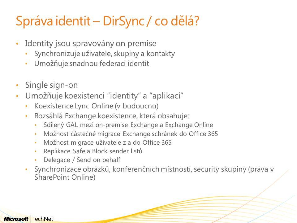 Správa identit – DirSync / co dělá