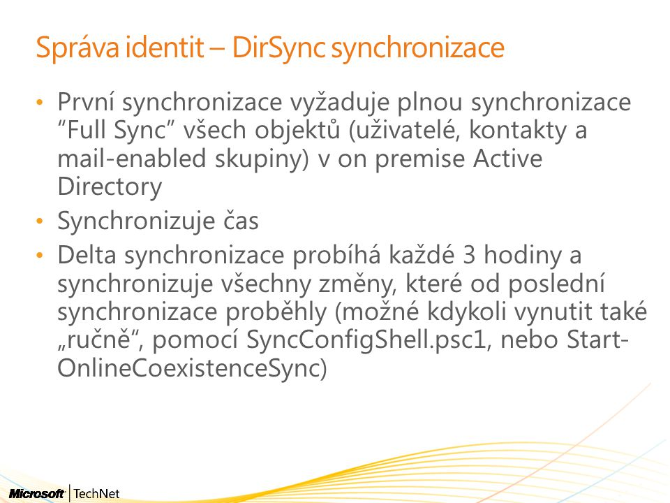 Správa identit – DirSync synchronizace