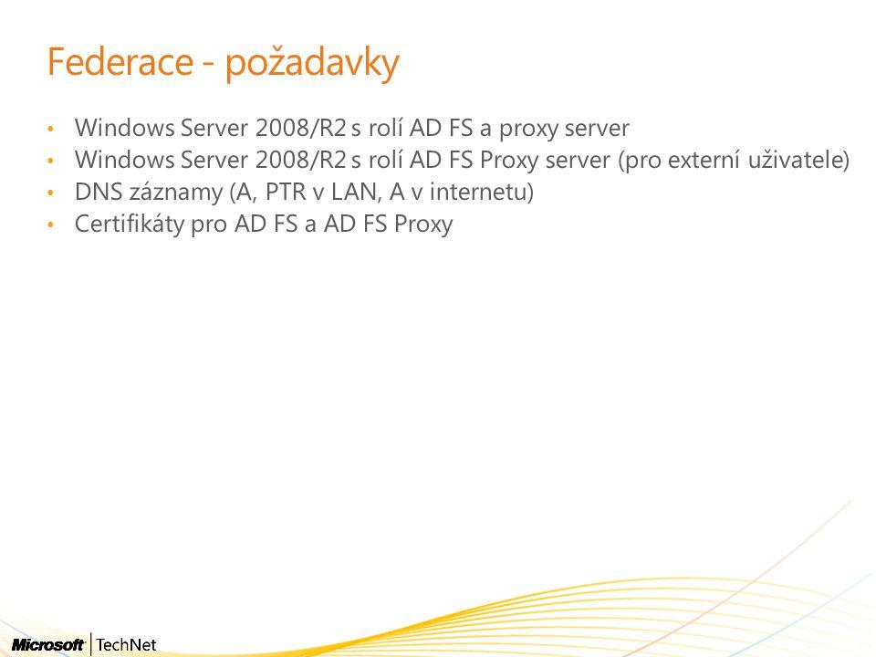 Federace - požadavky Windows Server 2008/R2 s rolí AD FS a proxy server. Windows Server 2008/R2 s rolí AD FS Proxy server (pro externí uživatele)