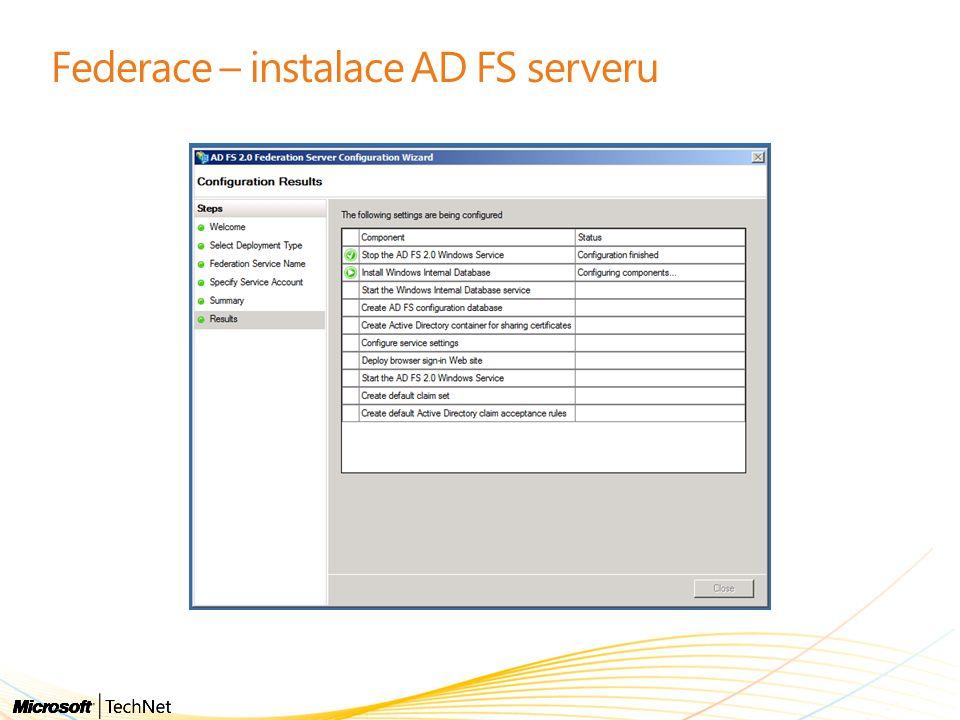 Federace – instalace AD FS serveru