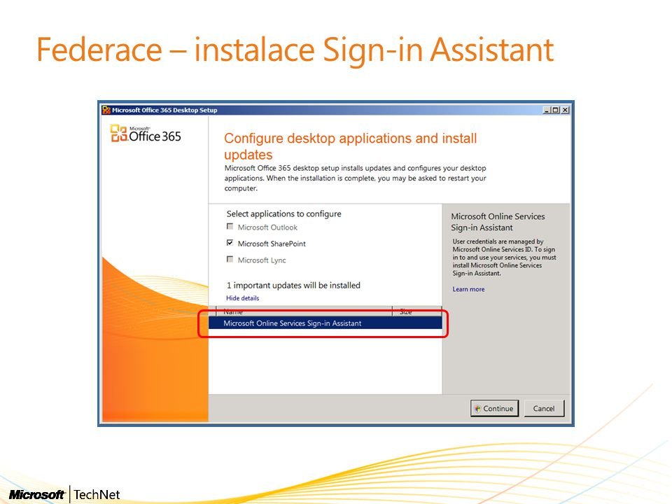 Federace – instalace Sign-in Assistant