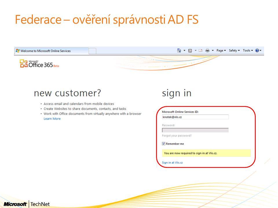 Federace – ověření správnosti AD FS