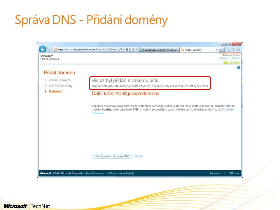 Správa DNS - Přidání domény