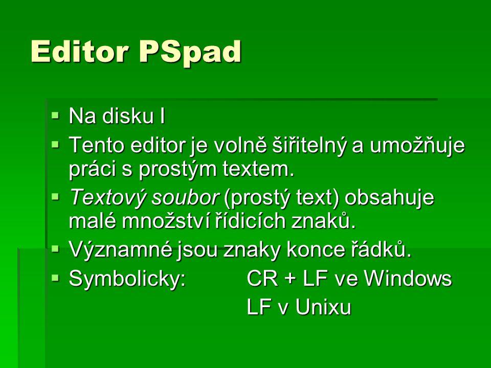 Editor PSpad Na disku I. Tento editor je volně šiřitelný a umožňuje práci s prostým textem.