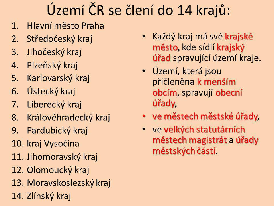 Území ČR se člení do 14 krajů: