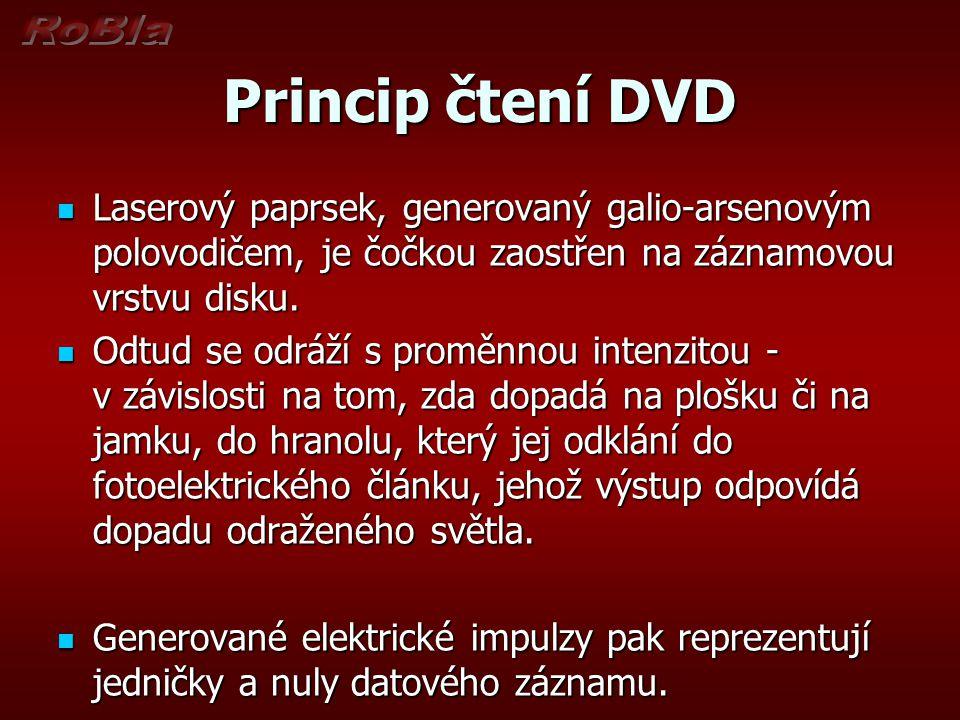 Princip čtení DVD Laserový paprsek, generovaný galio-arsenovým polovodičem, je čočkou zaostřen na záznamovou vrstvu disku.