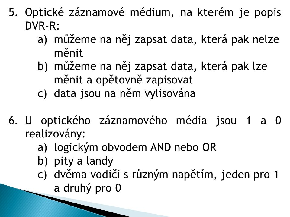 Optické záznamové médium, na kterém je popis DVR-R: