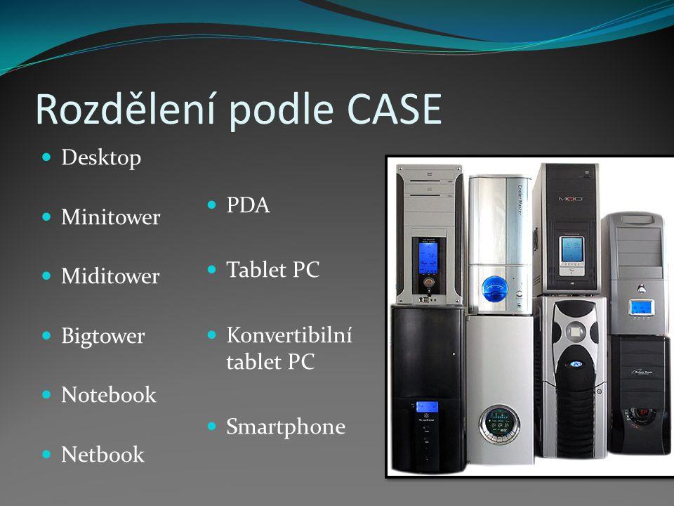 Rozdělení podle CASE Desktop Minitower PDA Miditower Tablet PC