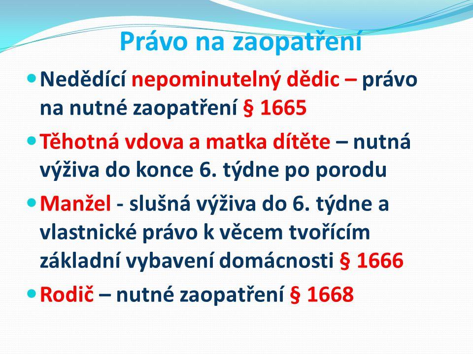 Právo na zaopatření Nedědící nepominutelný dědic – právo na nutné zaopatření § 1665.
