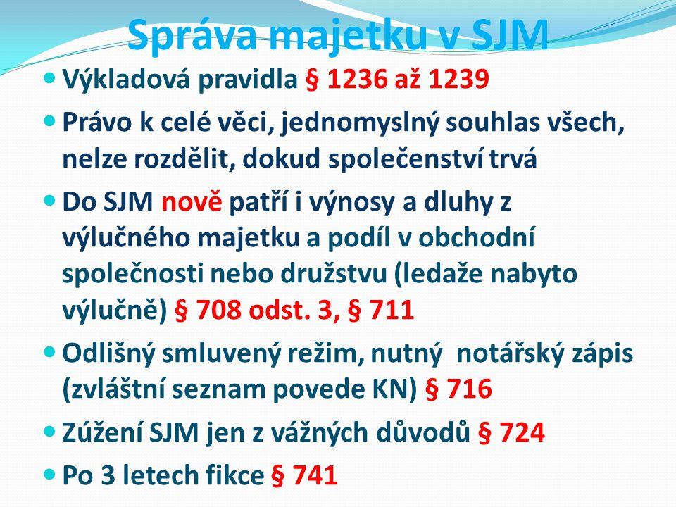 Správa majetku v SJM Výkladová pravidla § 1236 až 1239