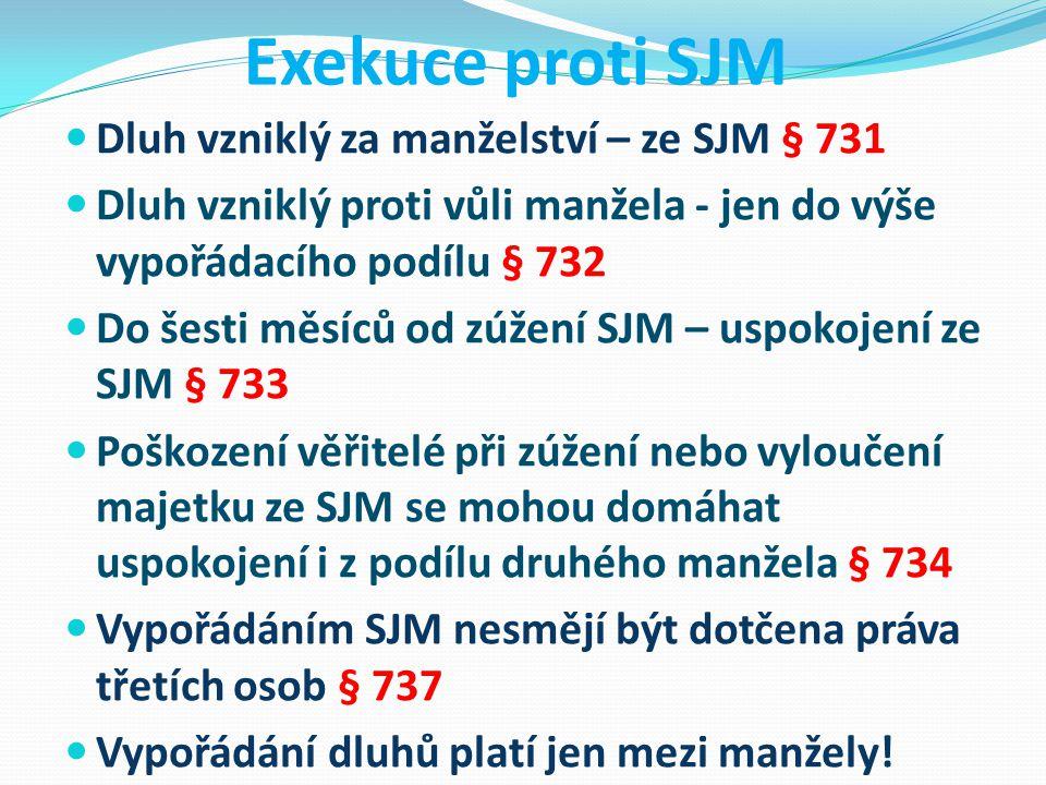 Exekuce proti SJM Dluh vzniklý za manželství – ze SJM § 731