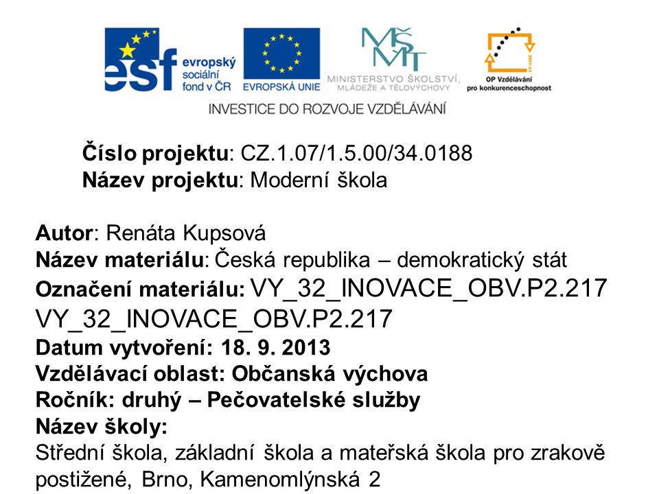 Číslo projektu: CZ.1.07/1.5.00/34.0188 Název projektu: Moderní škola. Autor: Renáta Kupsová. Název materiálu: Česká republika – demokratický stát.