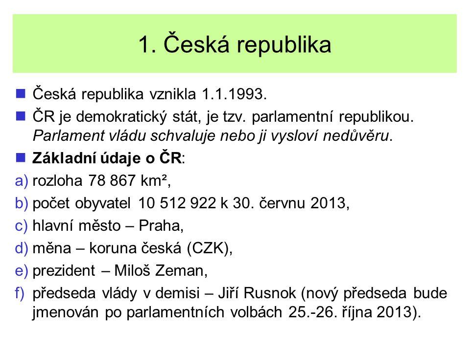 1. Česká republika Česká republika vznikla 1.1.1993.