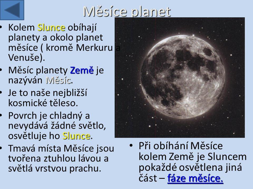 Měsíce planet Kolem Slunce obíhají planety a okolo planet měsíce ( kromě Merkuru a Venuše). Měsíc planety Země je nazýván Měsíc.