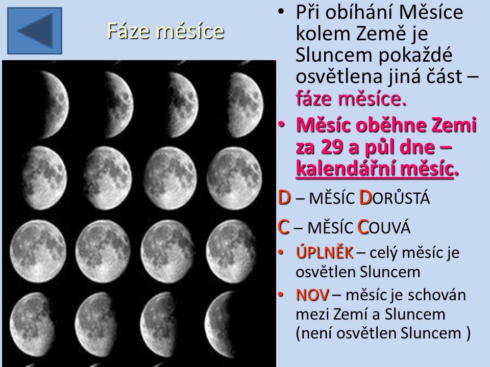 Při obíhání Měsíce kolem Země je Sluncem pokaždé osvětlena jiná část – fáze měsíce.