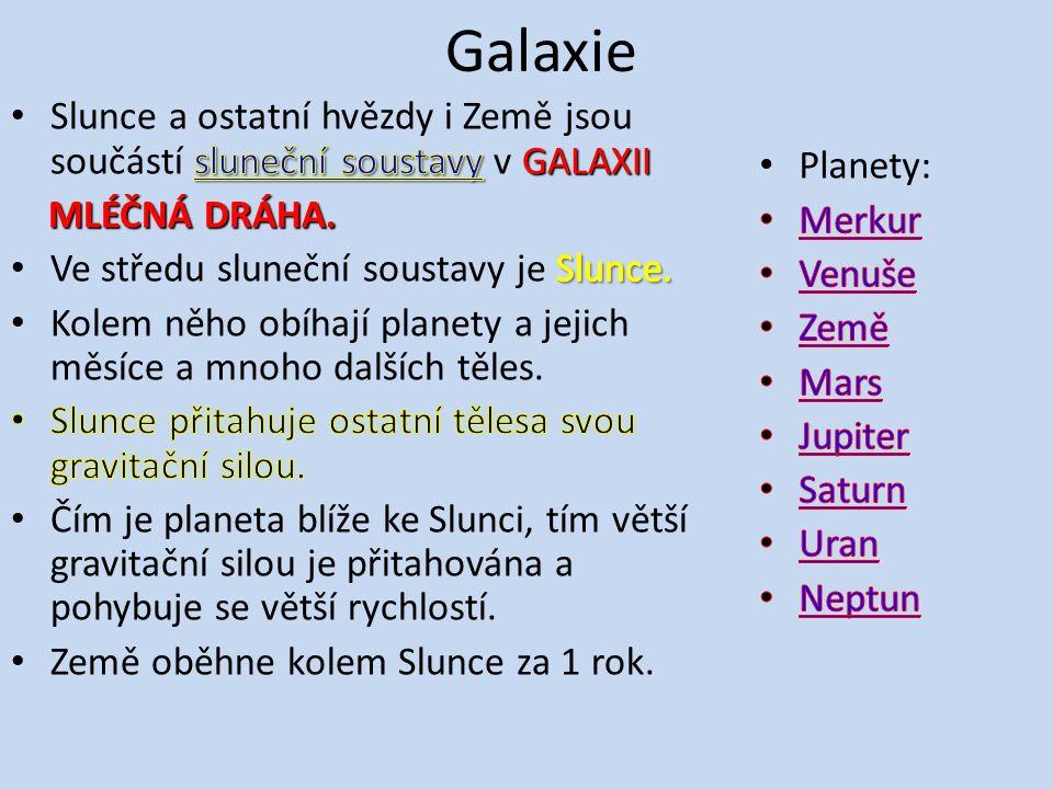 Galaxie Slunce a ostatní hvězdy i Země jsou součástí sluneční soustavy v GALAXII. MLÉČNÁ DRÁHA. Ve středu sluneční soustavy je Slunce.
