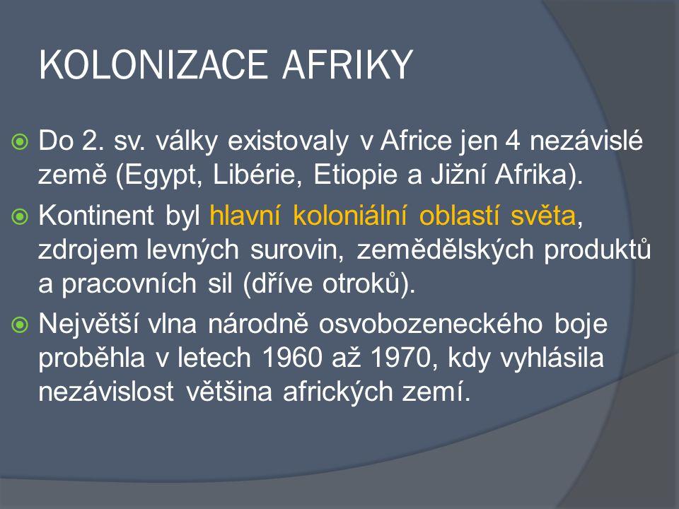 KOLONIZACE AFRIKY Do 2. sv. války existovaly v Africe jen 4 nezávislé země (Egypt, Libérie, Etiopie a Jižní Afrika).