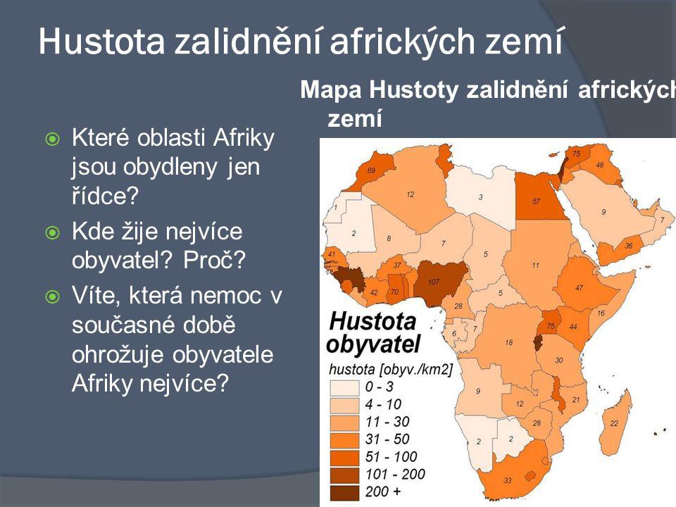 Hustota zalidnění afrických zemí
