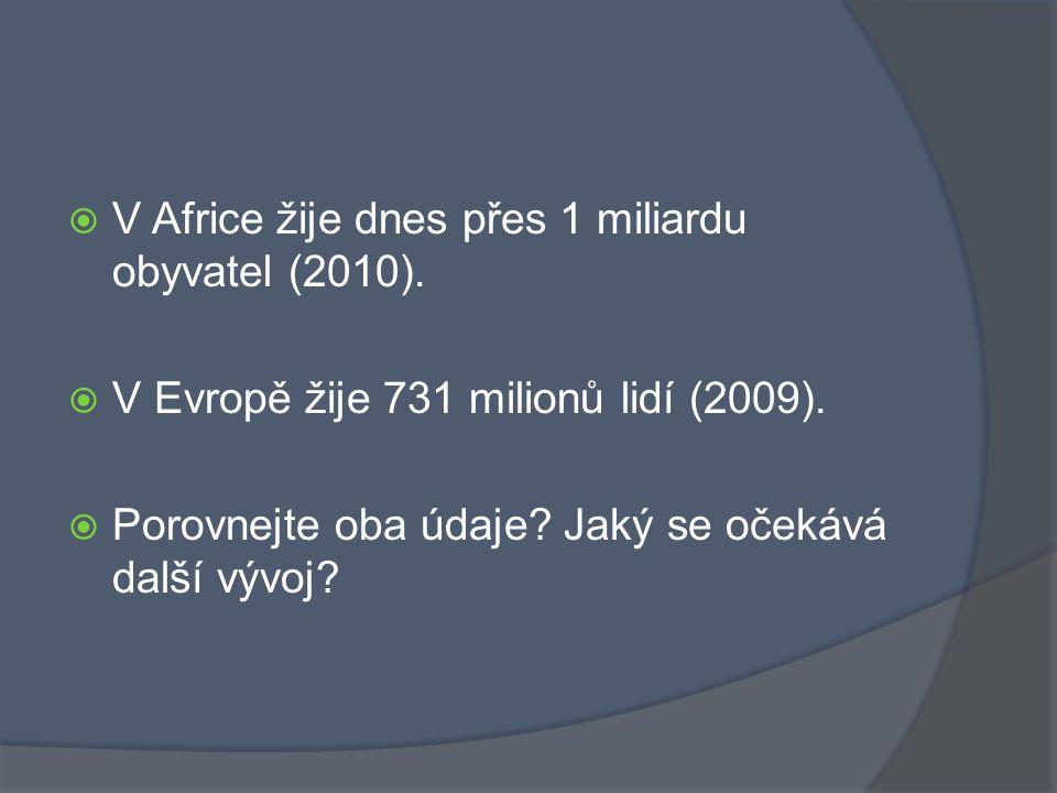 V Africe žije dnes přes 1 miliardu obyvatel (2010).