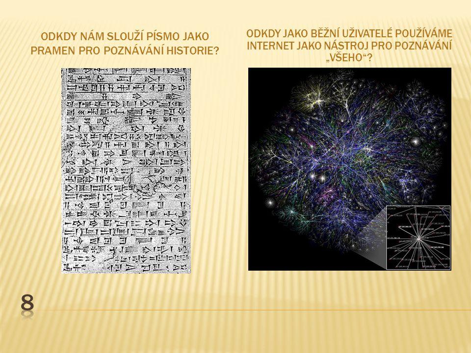 Odkdy nám slouží písmo jako pramen pro poznávání Historie