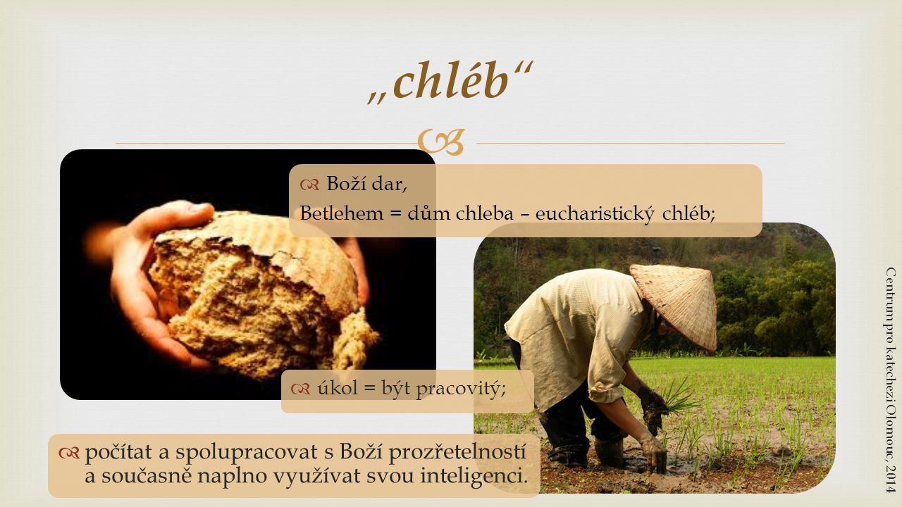 """chléb Boží dar, Betlehem = dům chleba – eucharistický chléb; úkol = být pracovitý; Centrum pro katechezi Olomouc, 2014."