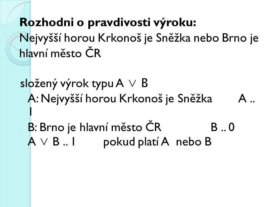 Rozhodni o pravdivosti výroku: Nejvyšší horou Krkonoš je Sněžka nebo Brno je hlavní město ČR složený výrok typu A ∨ B A: Nejvyšší horou Krkonoš je Sněžka A ..