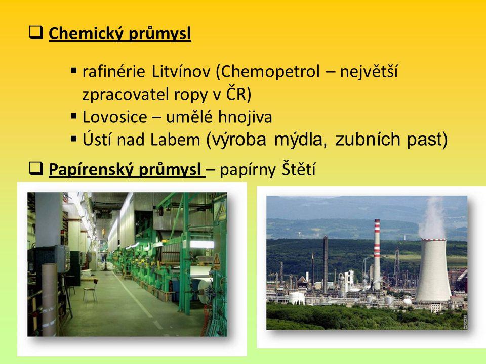 Chemický průmysl Papírenský průmysl – papírny Štětí. rafinérie Litvínov (Chemopetrol – největší. zpracovatel ropy v ČR)