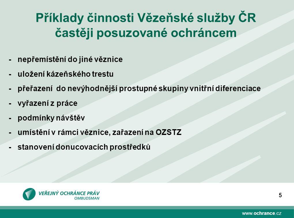 Příklady činnosti Vězeňské služby ČR častěji posuzované ochráncem