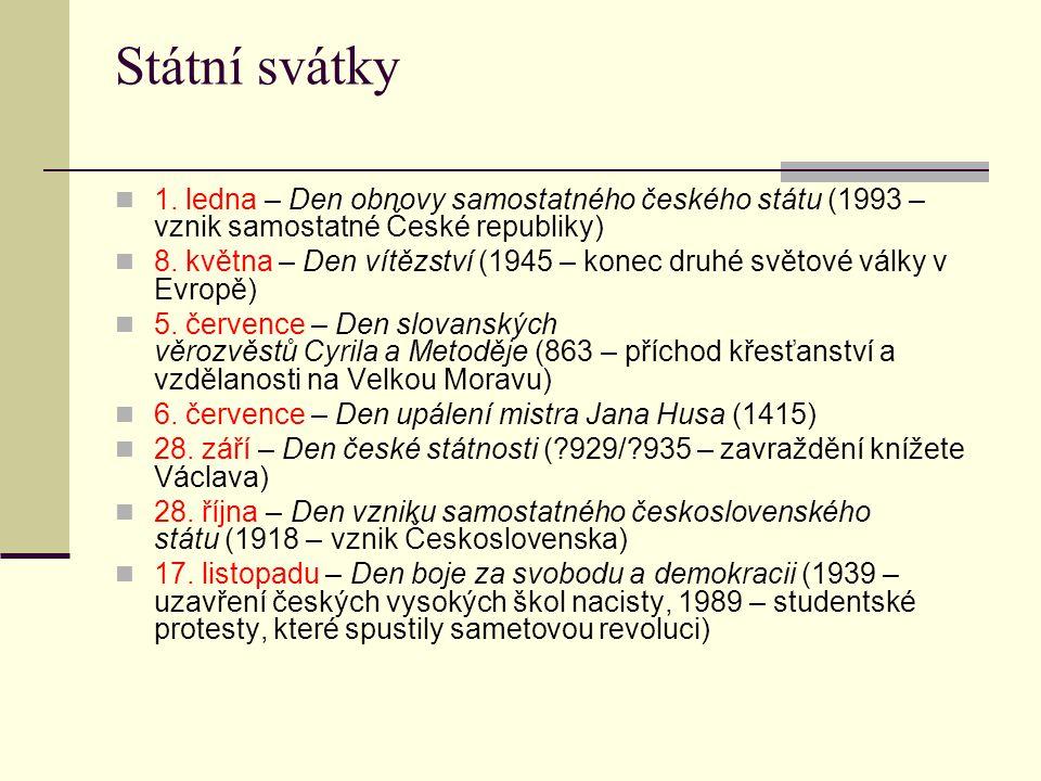 Státní svátky 1. ledna – Den obnovy samostatného českého státu (1993 – vznik samostatné České republiky)